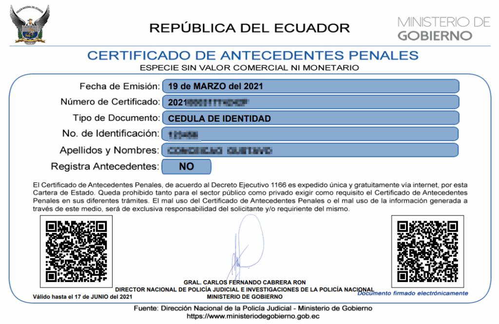 Record Policial, Certificado de Antecedentes Penales