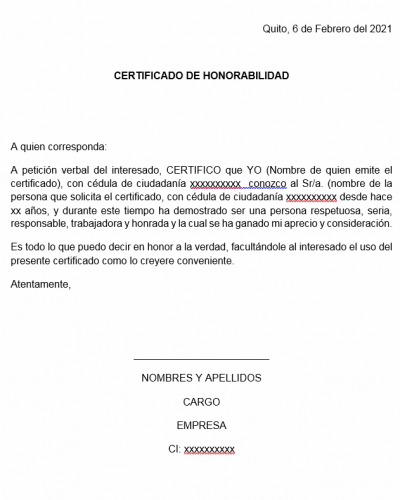 Modelo Certificado de Honorabilidad